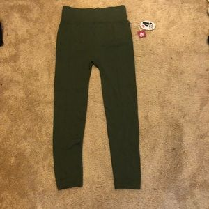 Olive Green Fleece Lined Leggings with Front Seam.
